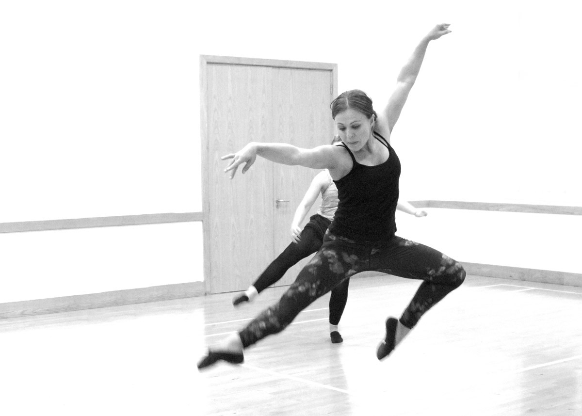 Anna jumping during Adult Ballet